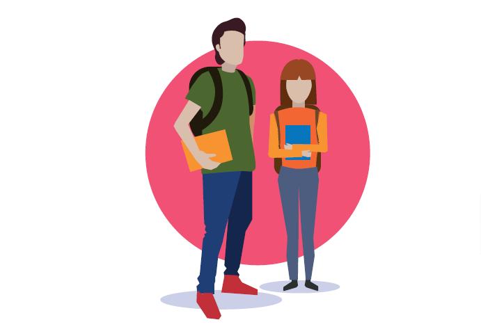 Uczniowie, chłopiec i dziewczyna z plecakami. Trzymają w ręku książkę. Różowe tło.