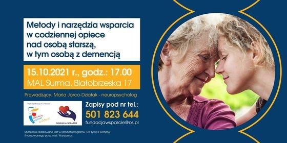 Zaproszenie na spotkanie, granatowe tło, tekst i zdjęcie w kółku dwóch kobiet - seniorki i w średnim wieku.